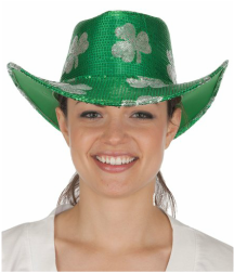 green cowboy hat with shamrock design