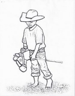 coloring page kids on stick horse