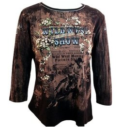 women's western wild west print shirt