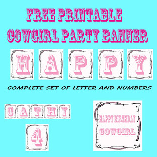 free printable cowgirl party banner