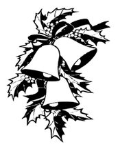 bells and holly clip art