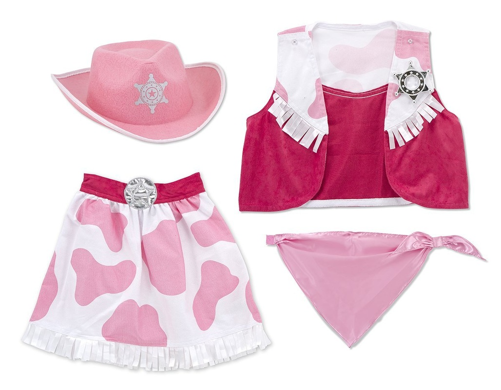 pink and white cow print cowgirl outfit