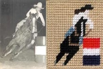 plastic canvas barrel racer by dancing cowgirl design