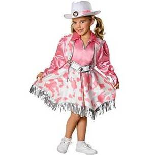 pink and white cow print cowgirl dress