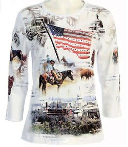 patriotic western scene womens top