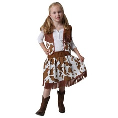 cow print western costume skirt and vest for girls