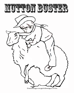 mutton bustin' coloring page