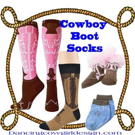 Cowboy Boot Socks DANCING COWGIRL DESIGN