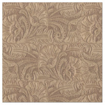 brown tooled eather print fabric