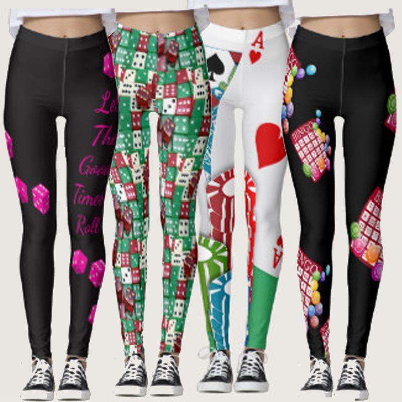 casino, cards and games print leggings