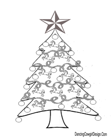 Western Christmas Coloring Pages Dancing Cowgirl Design
