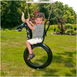 tire swing made like a rodeo bull