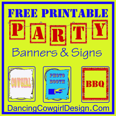picture relating to Free Printable Banners and Signs identified as Free of charge Printable Get together Banners - DANCING COWGIRL Design and style