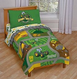 toddler size bed set with green tractors