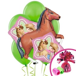 cowgirl and horse balloons