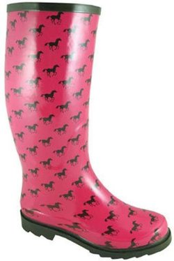 rubber boots with horse print