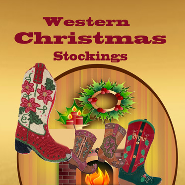 Western Christmas Stockings Personalized.Christmas Stocking Dancing Cowgirl Design