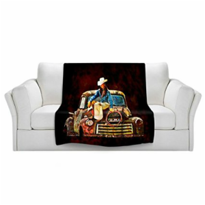 cowgirl print throw blanket
