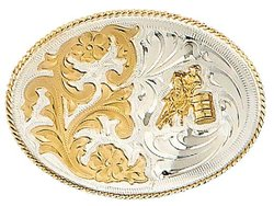 cowgirl belt buckle with barrel racer