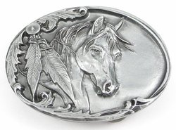 cowgirl belt buckle with horse head