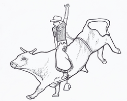 bull riding coloring page