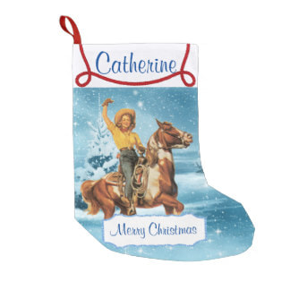 vintage cowgirl western Christmas stocking