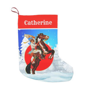 Vintage western cowgirl on horse Christmas stocking