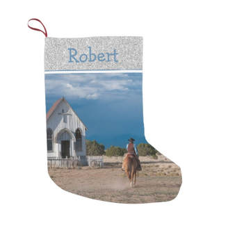 western Christmas stocking cowboy riding horse to church