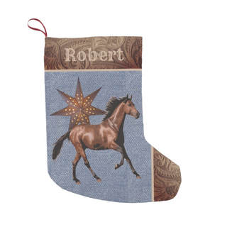 western Christmas stocking horse and faux leather print