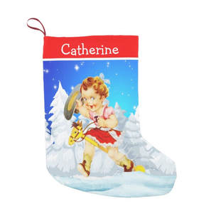 cowgirl on stick horse Christmas stocking