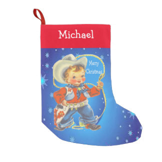 little cowboy kid Christmas stocking