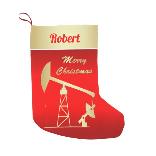 red oil pump jack Christmas stocking