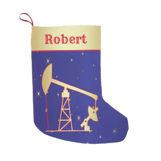 Oil well pump jack Christmas stocking