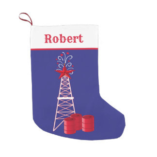 oil gas rig derrick Christmas stocking
