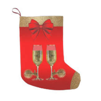 CHAMPAGNE AND SPURS CHRISTMAS STOCKING