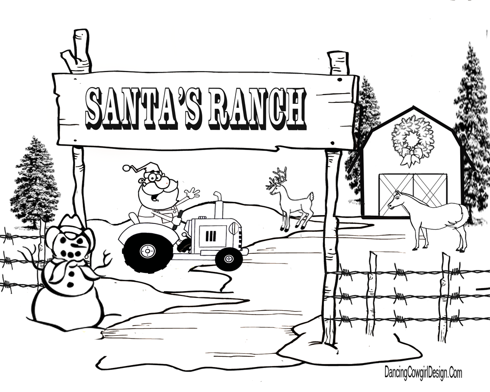 western christmas coloring pages