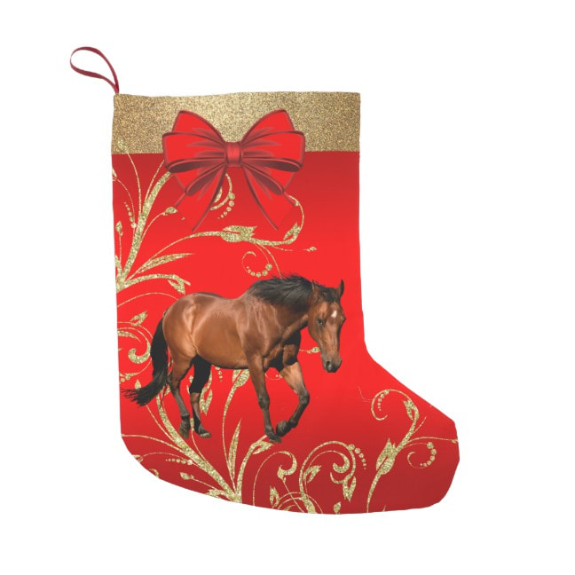 brown horse on red and gold Christmas stocking