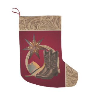 western Christmas stocking cowboy boots and hat and rope