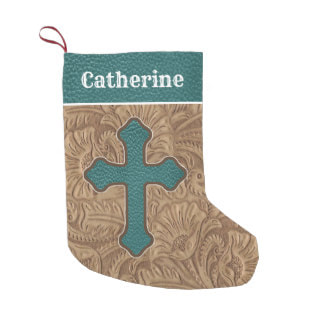 western faux leather cross Christmas stocking