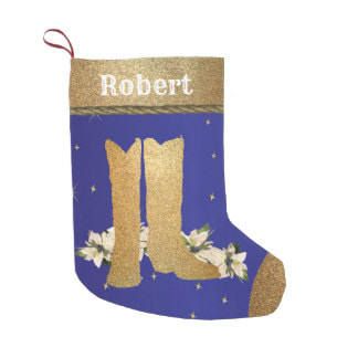 gold cowboy boots on Christmas stocking