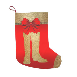 gold cowboy boots on red Christmas stocking
