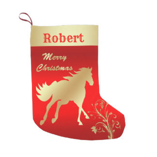 gold horse on red stocking