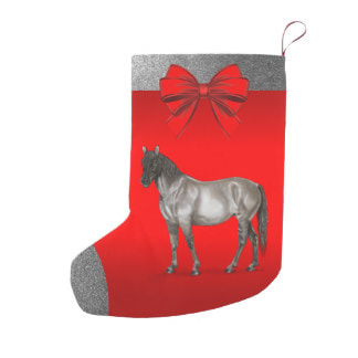 grey horse on red Christmas stocking