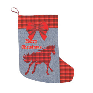 Red plaid horse on faux denim Christmas stocking