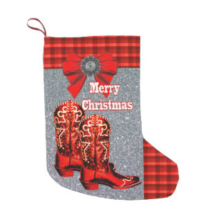 Red cowboy boots Christmas stocking