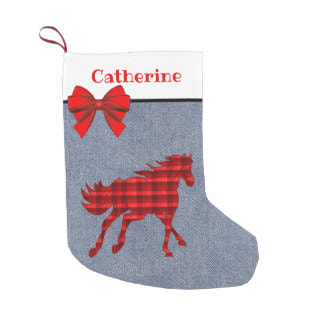 Red Plaid horse Christmas stocking