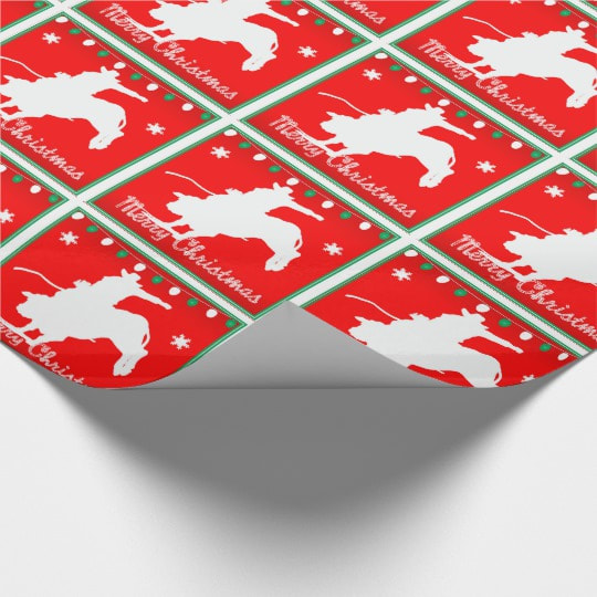 bull riding Christmas western gift wrapping